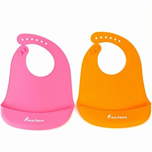 Bonison Top Quality Soft Silicone Bib Waterproof Baby Bib 2 Pack (0-5 Year) (Pink+Orange)