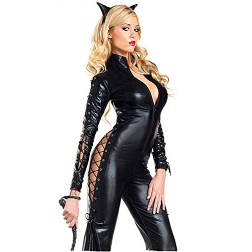 Afoxsos Women's One-pieces Catwoman Cosplay Costume Ball Outfits