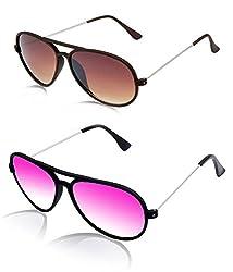 MagJons brown And pink Yuva Style Aviator Sunglasses Set Of 2 (With Box)