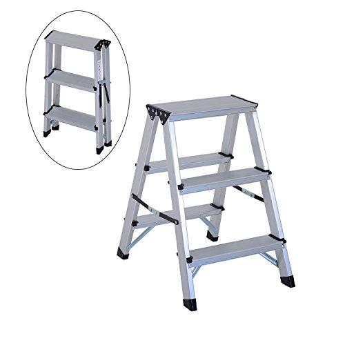 escabeau double chelle aluminium pliable l ger avec pied. Black Bedroom Furniture Sets. Home Design Ideas