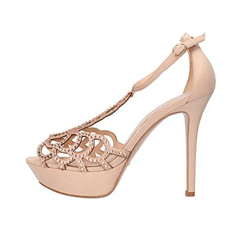 BIBI LOU sandali donna nero / beige raso strass (40 EU, Beige)