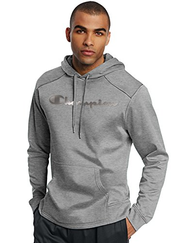 Champion Men's Tech Fleece Reflective Logo Pullover Hoodie, Oxford Grey, X-Large