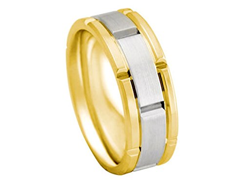 Men's TWO TONE 14K YELLOW WHITE GOLD ROLEX INSPIRED 8mm COMFORT FIT WEDDING BAND men s 18k yellow gold rolex inspired 8 5mm comfort fit wedding band