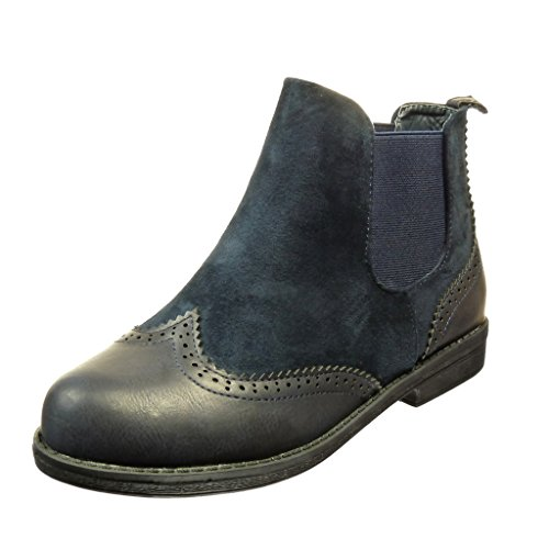 angkorly-damen-schuhe-stiefeletten-chelsea-boots-bi-material-fertig-steppnahte-blockabsatz-2-cm-blau
