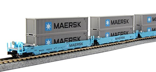 kato-usa-model-train-products-100010-n-gunderson-maxi-i-double-stack-5-unit-well-car-maersk-train