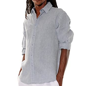 Lined Long Sleeve Grey Linen Shirt