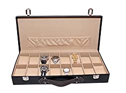 Essart PU Leather Watch Organiser Box for 16watches-B-Brown