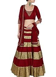 Fashion Galleria Women's Red Gold Georgette Lehenga