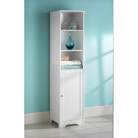 Perfect MDL White Bathroom Tall Boy cabinet Shelves Storage unit