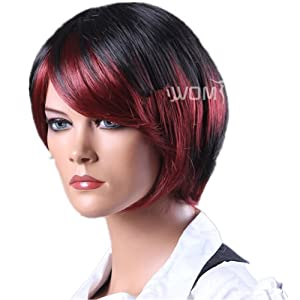 Cool Short Bob Black And Red Secondary Colors Natural