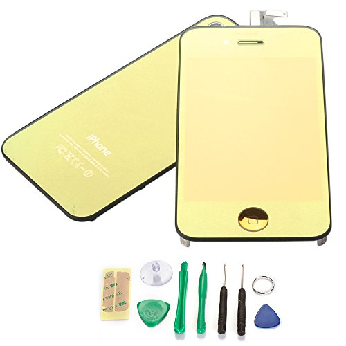 Gold Plated Lcd Screen, Digitizer And Back Cover For Iphone 4 Gsm Att Only(Not For 4S Or Verizon)