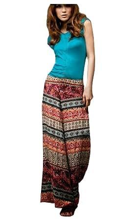 CA Fashion Womens BOHO Wide Leg Casual Pant Trouser at