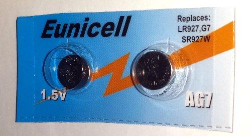 Eunicell Lot de 2 piles bouton alcalines AG7 Type G7 LR57 LR57SW LR926 LR926SW SR926W L926E LR927 LR927SW 395 399