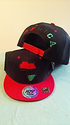 RBG Snapback Africa Hat Red Black Green Embroidered Pan African RED
