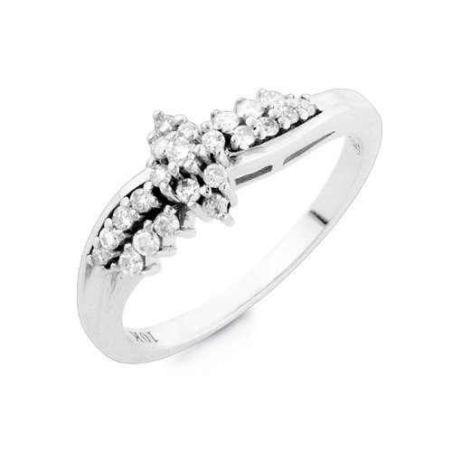 1/4 Carat Diamond Flower Cluster Ring in 10K White Gold Size-7