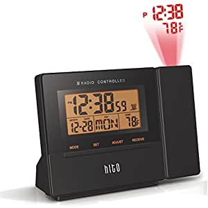hito atomic radio controlled projection alarm clock w date temperature week. Black Bedroom Furniture Sets. Home Design Ideas