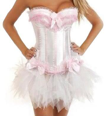 Sexy White & Pink Burlesque Corset & Tutu Set