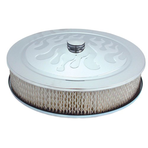 """Spectre Performance (4758) 14"""" X 3"""" Chrome Flamed Air Cleaner front-538039"""
