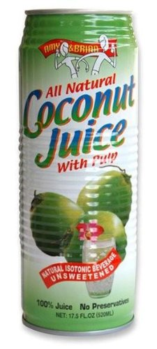 Amy & Brian Natural Coconut Juice  Pulp 17.5 oz Tins 