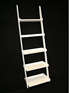 ehemco 5 tier bookcase ladder in white finish. Black Bedroom Furniture Sets. Home Design Ideas