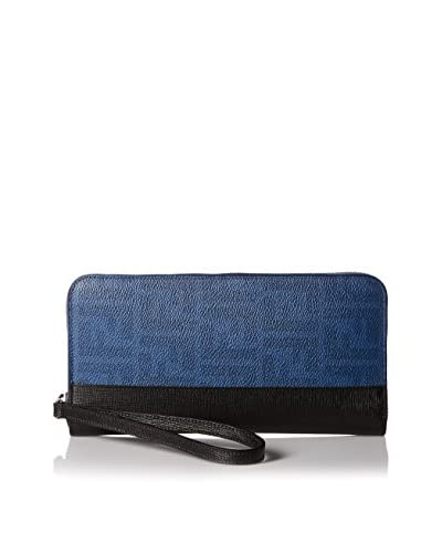Fendi Men's Zip Around Zucca Wallet, Cobalt