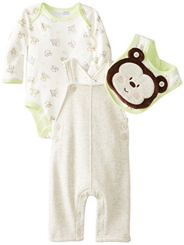 Vitamins Baby Baby-Boys Newborn Plush Monkey 4 Piece Fleece Overall Set, Oatmeal Heather, 9 Months