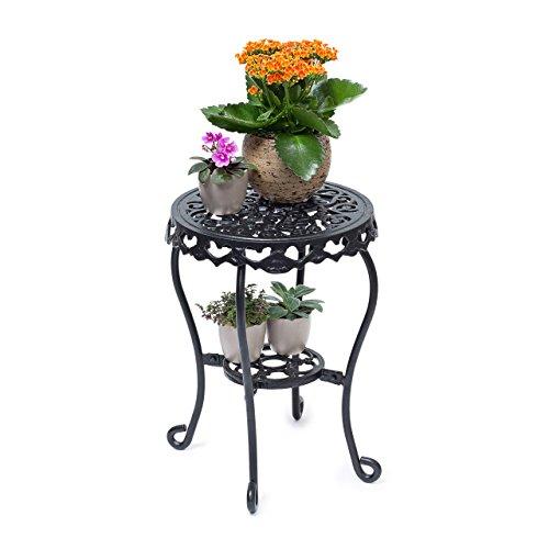 Relaxdays-Blumenhocker-rund-Gre-M-aus-Gusseisen-HBT-ca-41-x-30-x-30-cm-Blumenstnder-mit-2-Ablagen-Beistelltisch-fr-Blumen-und-Dekoration-in-Haus-und-Garten-Hocker-fr-Pflanzen-schwarz