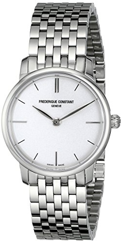 Frederique Constant Women's FC200S1S36B Slim Line Analog Display Swiss Quartz Silver Watch image