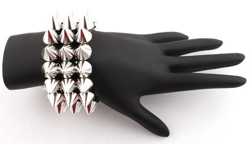 Silver 3 Row Spike Style Adjustable Bracelet Shamballah