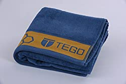TEGO Antimicrobial Sports Towel - Mykonos Blue - Orange