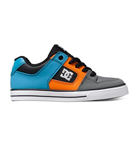 DC Pure Youth Vulcanized Shoes Skate Shoe (Little Kid/Big Kid), Armor/Turquoise, 1 M US Little Kid