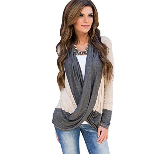 Tenworld Women Lady Charming Irregular Splice Cotton V Neck Loose T Shirt Blouse (US 8)