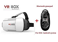 Evana Hot Selling VR Headset Virtual Reality 3D Glasses Google Cardboard VR Box For 4-6 inch Smartphones with Mini Bluetooth Gamepad & Selfie Shutter Remote