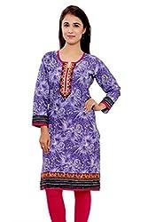 Kurti Studio Womens Festive Blue Printed Jaipuri Cotton Kurti