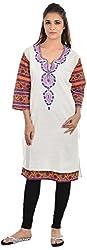 Padmini Negotium Women's Khadi Regular Fit Kurti (PNK0041, White, 46)