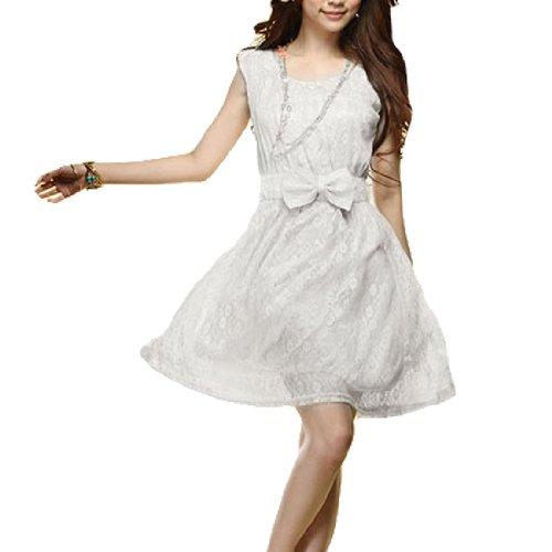 Allegra K Women Sheer Lace Scoop Neck Sleeveless White Above Knee Dress XS