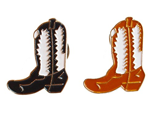 [Custom Black and Tan Lapel Pin Cowboy Boot Set: 2 Pins Included] (Weed Bag Costume)