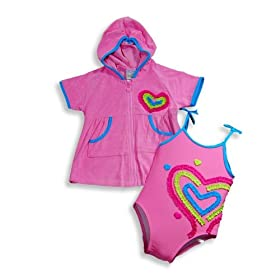 Swim' n Pretty by Baby Buns - Toddler Girls One Piece Bathing Suit And Coverup, Pink