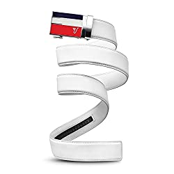 Mission Belt Men's Ratchet Belt - Americano Buckle / Snow White Leather, Custom (Up To 56)