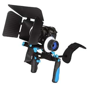 CamSmart DSLR Rig - Main Poignée + l'épaule de montage banc + follow focus + matte box parasol + ajuster la plate-forme pour les appareils photo reflex numériques DSLR, Canon 5D MK II, 7D, 60D, 600D (T3i), Nikon D90 D7000 D5100 D3100 D300, Sony A65 A55, A33, A580, A560, DSR PD198p, GH1, Gh2, GH3
