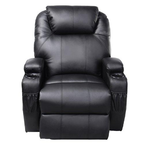 Tangkula Pu Leather Ergonomic Heated Massage Recliner Sofa Chair Deluxe Lounge Executive w/ Control (Black)
