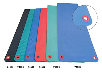 "Aeromat 1320777 Elite Workout Mat with Eyelets, 24"" x 72"" x 1/2"" Size, Blue"