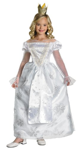 Deluxe White Queen Girls Costume (Alice In Wonderland Childrens Costumes)