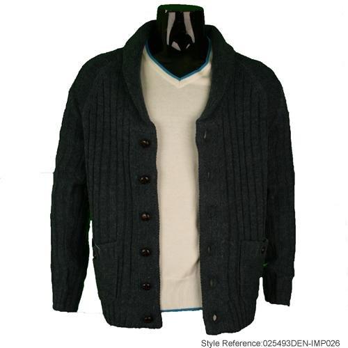 Mens Holmes & Co Denim Wool Mixed Knit Cardigan M2