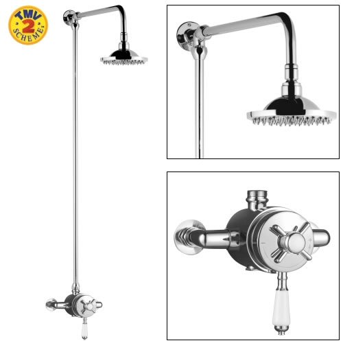 Traditional Dual Exposed Thermostatic Bathroom Shower Valve with Rigid Riser Stylish Chrome Finish