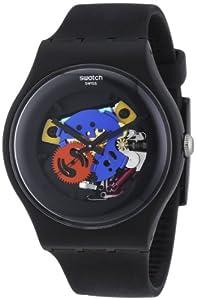 Swatch Originals Black Lacquered Black Silicone Unisex Watch SUOB101