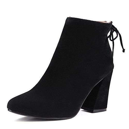 VogueZone009 Donna Cerniera Scarpe A Punta Tacco Alto Alla Caviglia Stivali con Metallo, Nero, 41