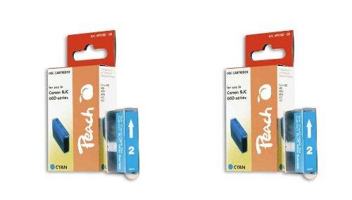 Peach C201 c Doppelpack Tintenpatronen kompatibel zu Canon, Xerox, Apple BJI-201 c, cyan