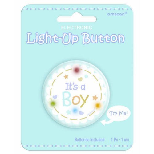 It's a Boy Light Up Button - 1