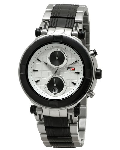 DFactory Men's DFU016SWI Black Label White Dial Steel and IPB Chronograph Watch